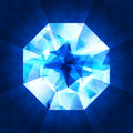 Realistic diamond in top view on shiny background. Royalty Free Stock Photo