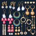 Realistic earrings jewelry accessories icons set. Royalty Free Stock Photo