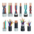 Realistic electric industrial cables, electrical copper wires vector set isolated Royalty Free Stock Photo