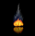 Realistic Fire Flame with Smoke on Black Background Royalty Free Stock Photo