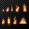 Realistic fire flames set Royalty Free Stock Photo