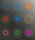 Realistic Fireworks set  on a transparent background. Holiday and party firework icons collection. Vector Royalty Free Stock Photo
