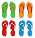 Realistic flip flop set with different color combinations Royalty Free Stock Image