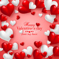 Realistic floating 3D Valentine hearts red background