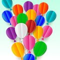 Realistic flying paper cuts up balloons Colorful decorations for parties, celebrations, banners, maps. Greeting card with a happy Royalty Free Stock Photo