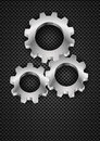 Realistic gearwheel illustration on black for design Royalty Free Stock Images