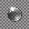 Realistic glass sphere, a drop of water on a transparent background. Vector illustration. Royalty Free Stock Photo