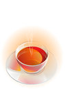 Realistic glass tea cup and saucer with vapor. Royalty Free Stock Photo