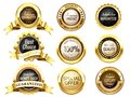 Realistic golden labels. Elegant best price banner, label with g