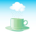 Realistic green cup and cloud with rain