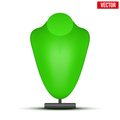 Realistic green dummy necklace bust. Vector
