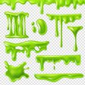 Realistic green slime. Slimy toxic blots, goo splashes and mucus smudges. Halloween liquid decoration borders 3d
