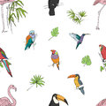 Realistic hand drawn colorful seamless pattern of beautiful exotic tropical birds with palm leaves. Flamingos, cockatoo