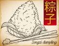 Realistic Hand Drawn Zongzi Dumpling with Chopsticks, Vector Illustration