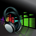 Realistic Headphones digital Equalizer background Royalty Free Stock Photo
