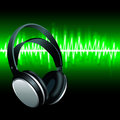 Realistic Headphones digital Equalizer sound wave background Royalty Free Stock Photo