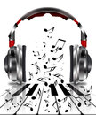 Realistic headphones with music notes Royalty Free Stock Photo