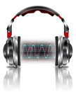 Realistic headphones with music waves Royalty Free Stock Photo
