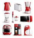 Realistic Household Kitchen Appliances Icon Set Royalty Free Stock Photo