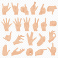 Realistic human hands icons and symbols set. Emoji hand icons. Different gestures, hands, signals and signs emotions