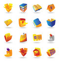 Realistic icons set for books and papers Stock Photography