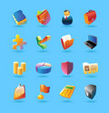 Realistic icons set for business Stock Photo