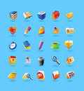 Realistic icons set for office Stock Images