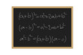 Realistic illustration of a black board with mathematical formulas written in chalk