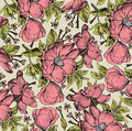 Realistic isolated flowers pattern. Vintage baroque background. Rose dogrose, rosehip, brier. Wallpaper. Drawing engraving.