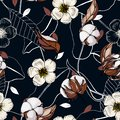 Realistic isolated seamless flowers pattern. Vintage set. Hand drawn vector illustration. Abstract floral cotton drawing Royalty Free Stock Photo