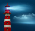 Realistic lighthouse in the night sky background vector illustration eps Stock Images