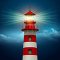 Realistic lighthouse in the night sky background vector illustration eps Royalty Free Stock Photography