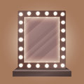 Realistic makeup mirror with bulbs vector illustration.