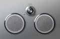 Realistic metal loudspeakers with volume knob round adjust Stock Image