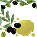 Realistic olive oil background Stock Photo