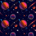 Realistic open space. The milky way, stars and planets. Alien planet background. Gas giant with planets.Vector cosmic illustration