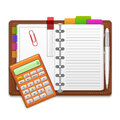 Realistic Organizer Notebook, Color Stickers and Calculator. Vector