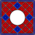 Realistic patterned stained glass window panel Royalty Free Stock Image