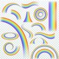 Realistic rainbow. Rainbows arch joyful summer spring iridescent lights rain and sun effect isolated vector set