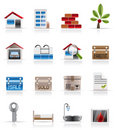 Realistic Real Estate icons Stock Photography
