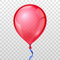 Realistic red balloon on transparent checkered background. Vector illustration Royalty Free Stock Photo