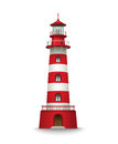 Realistic red lighthouse building isolated on white background. Vector illustration Royalty Free Stock Photo