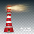 Realistic red lighthouse building  on white background. Vector illustration Royalty Free Stock Photo
