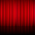 Realistic Red Theatrical Closed Curtain Royalty Free Stock Photo