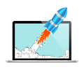 Realistic Rocket and Laptop Vector Icon. Startup Comic or Project Development Concept. Royalty Free Stock Photo