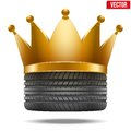Realistic rubber tire with a golden crown