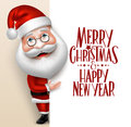 Realistic Santa Claus Cartoon Character Showing Merry Christmas