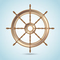 Realistic shiny captain sheep wheel on blue nautical background Stock Photos