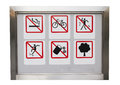 Realistic six safty caution prohibit sign in the aluminium frame all including no smoking no cycles no dancing no trash no skate Royalty Free Stock Photography