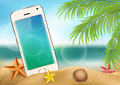 Realistic smartphone on beach, in the sand with shells and palm trees. Vector illustration